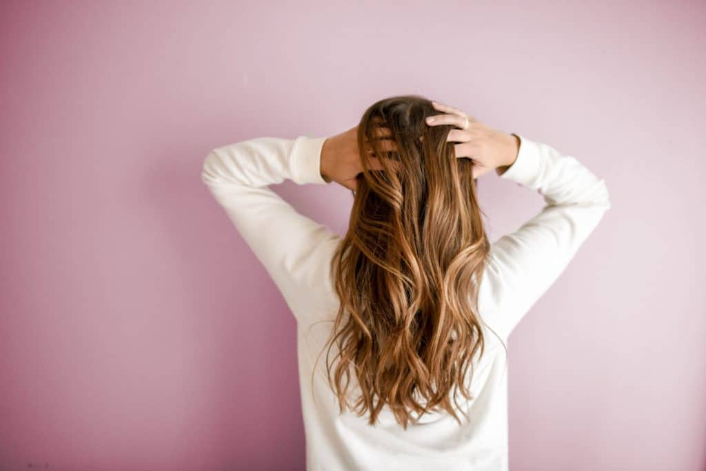 woman long hair back