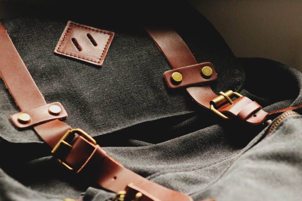 backpack leather straps close up