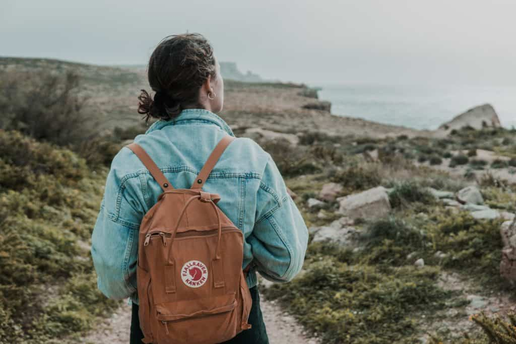 woman fjallraven backpack nature