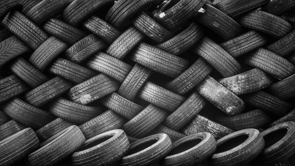 pile rubber tires