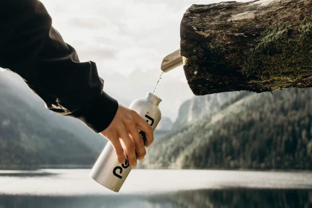 stainless steel water bottle outdoors